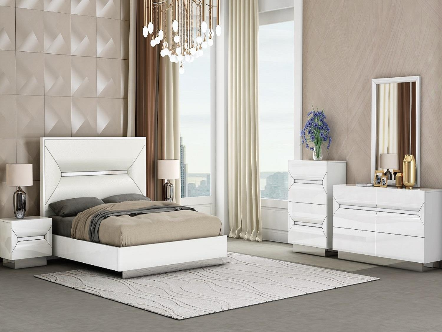 Modern Cypress White 6 PC Queen Bedroom Set, 1071, Bedroom Sets, Modern Cypress White 6 PC Queen Bedroom Set from Mega