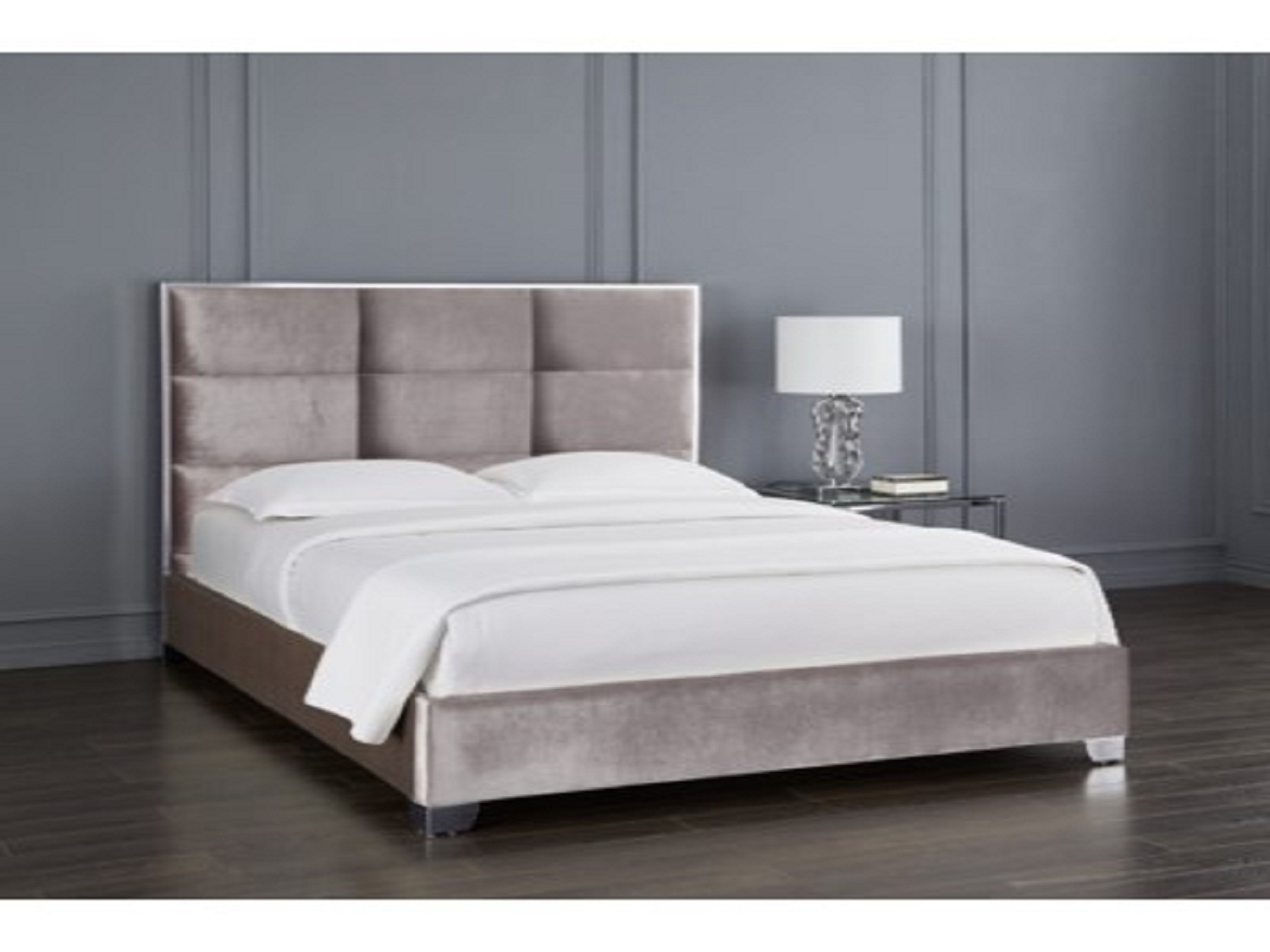 Blair Grey Velvet Bed, GY-0228, Beds by Midha Furniture to Brampton, Mississauga, Etobicoke, Toronto, Scraborough, Caledon, Oakville, Markham, Ajax, Pickering, Oshawa, Richmondhill, Kitchener, Hamilton and GTA area
