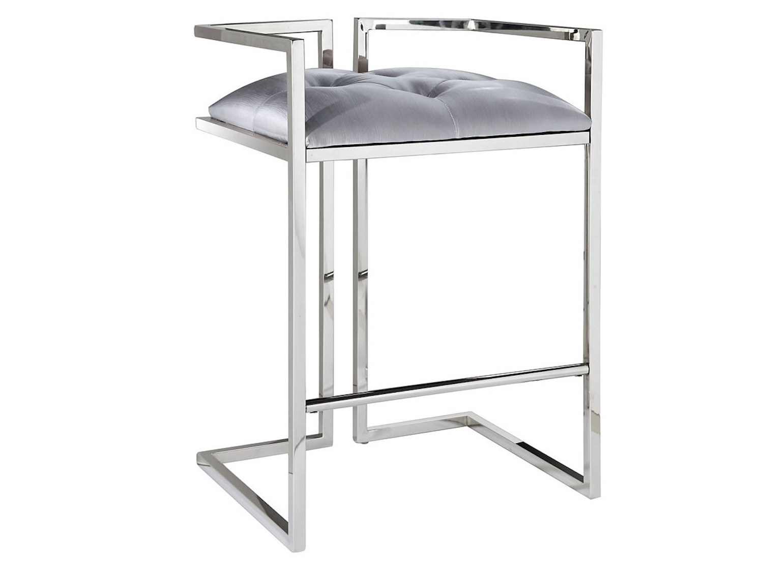 Coralie Silver Satin Stool, GY-COU-8051, Bar Stools, Coralie Silver Satin Stool from Xcella by Midha Furniture serving Brampton, Mississauga, Etobicoke, Toronto, Scraborough, Caledon, Cambridge, Oakville, Markham, Ajax, Pickering, Oshawa, Richmondhill, Kitchener, Hamilton, Cambridge, Waterloo and GTA area