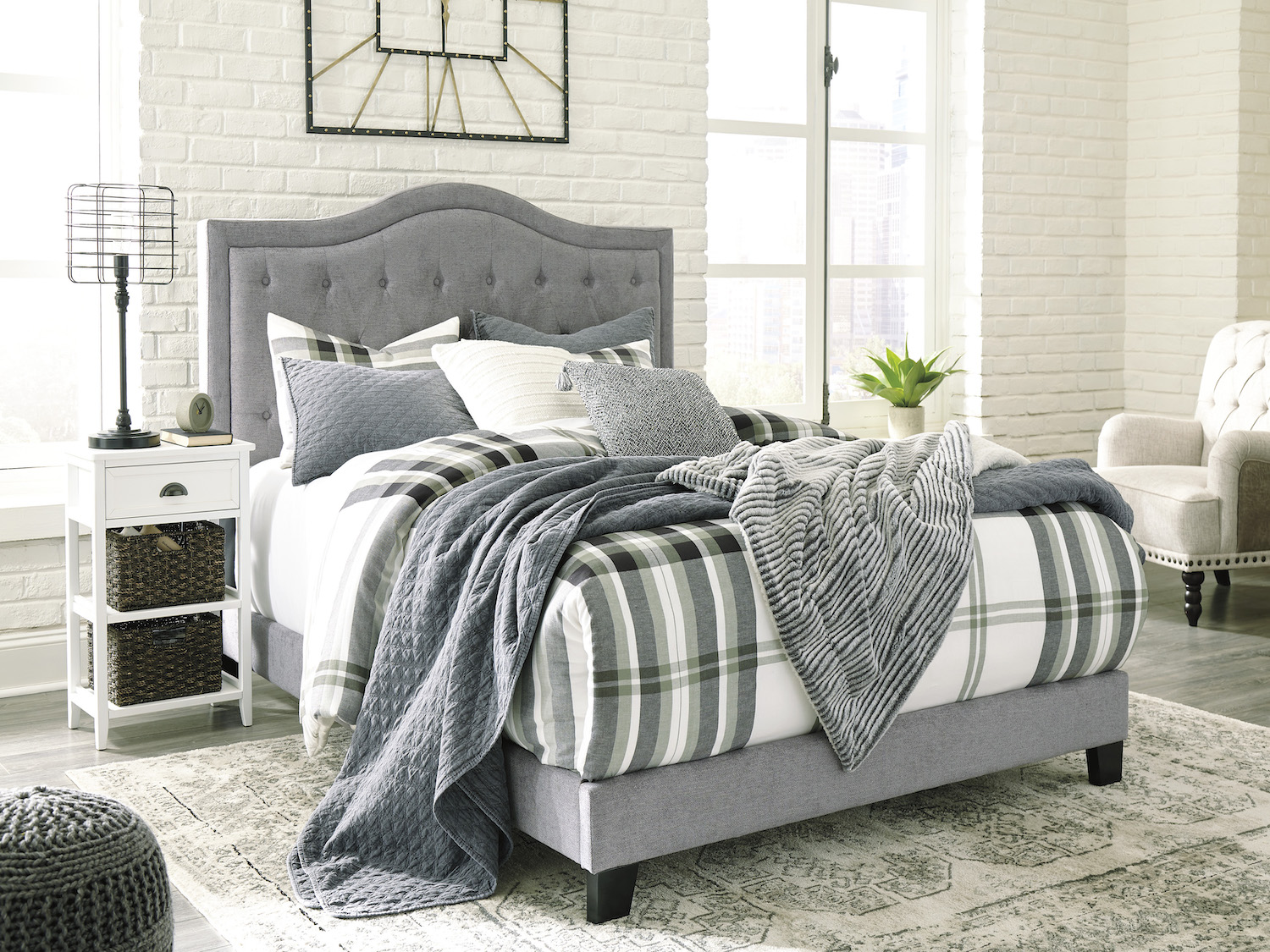 Jerary Queen Bed- Gray, B090-381, Beds, Jerary Queen Bed- Gray from Ashley by Midha Furniture serving Brampton, Mississauga, Etobicoke, Toronto, Scraborough, Caledon, Cambridge, Oakville, Markham, Ajax, Pickering, Oshawa, Richmondhill, Kitchener, Hamilton, Cambridge, Waterloo and GTA area