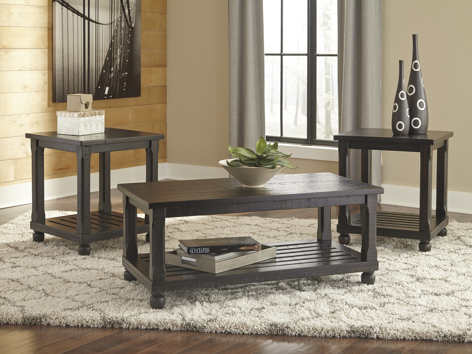 Mallacar 3PC Table Set, T145-13, Coffee Table by Midha Furniture to Brampton, Mississauga, Etobicoke, Toronto, Scraborough, Caledon, Oakville, Markham, Ajax, Pickering, Oshawa, Richmondhill, Kitchener, Hamilton and GTA area