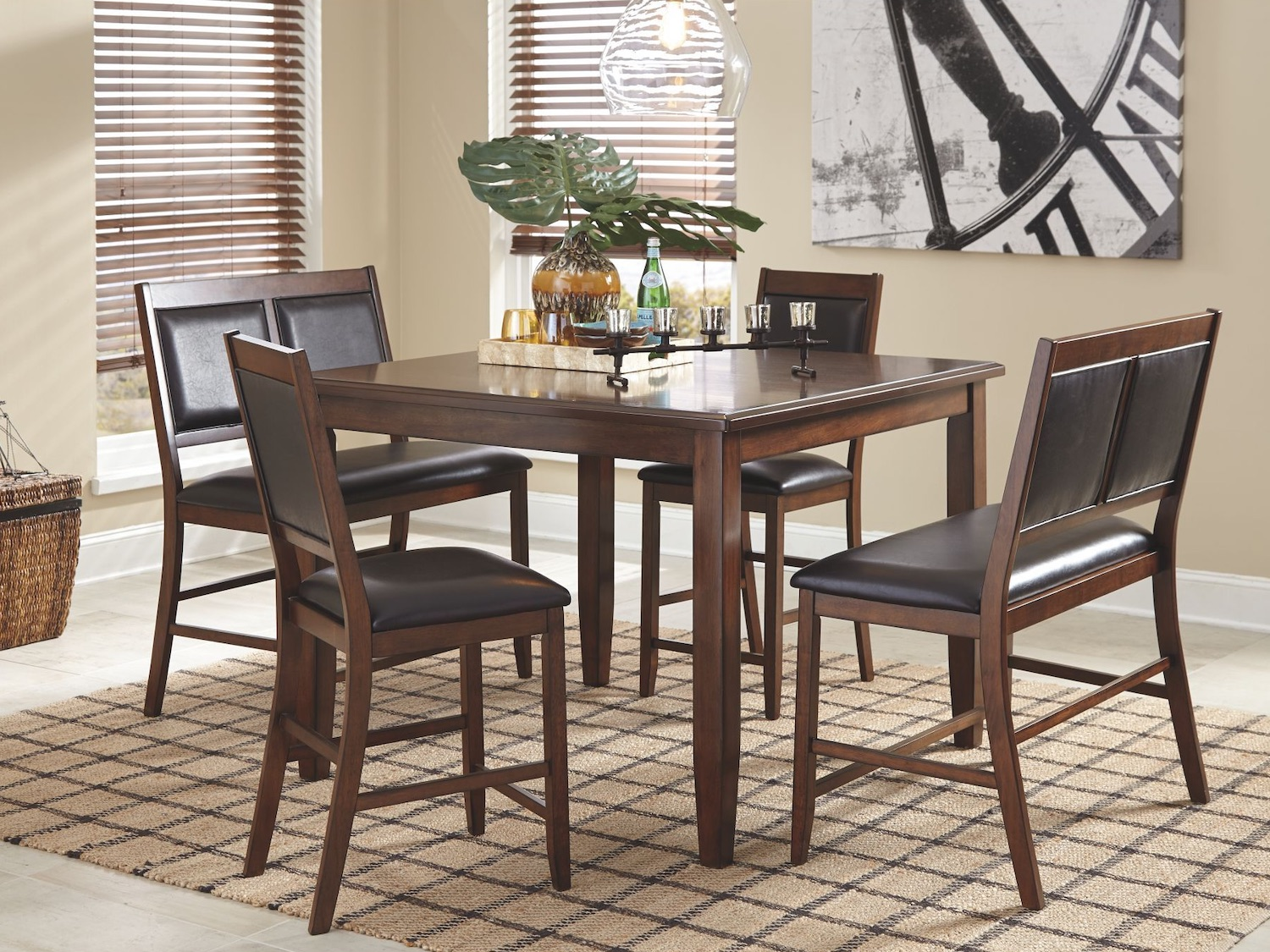 Meredy 5 PC DRM Counter Table Set, D395-323, Dining Room Sets, Meredy 5 PC DRM Counter Table Set from Ashley by Midha Furniture serving Brampton, Mississauga, Etobicoke, Toronto, Scraborough, Caledon, Cambridge, Oakville, Markham, Ajax, Pickering, Oshawa, Richmondhill, Kitchener, Hamilton, Cambridge, Waterloo and GTA area