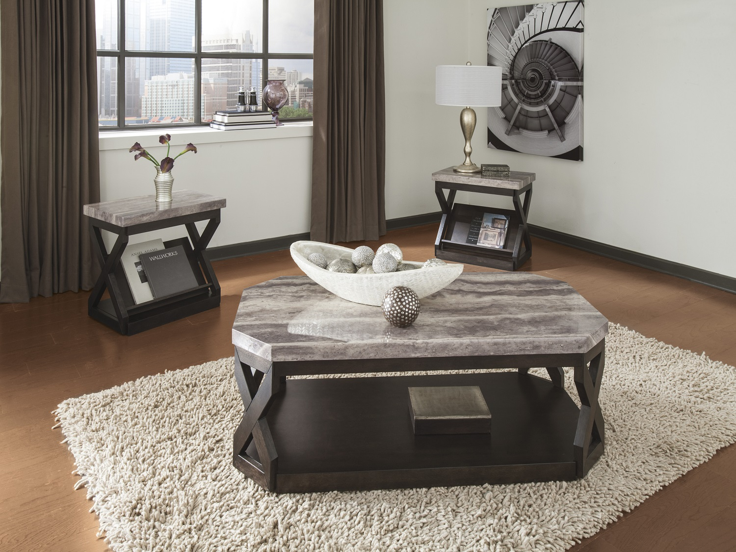 Radilyn 3PC Table Set, T568-13, Coffee Table Set (3PC) by Midha Furniture to Brampton, Mississauga, Etobicoke, Toronto, Scraborough, Caledon, Oakville, Markham, Ajax, Pickering, Oshawa, Richmondhill, Kitchener, Hamilton, Cambridge, Waterloo and GTA area