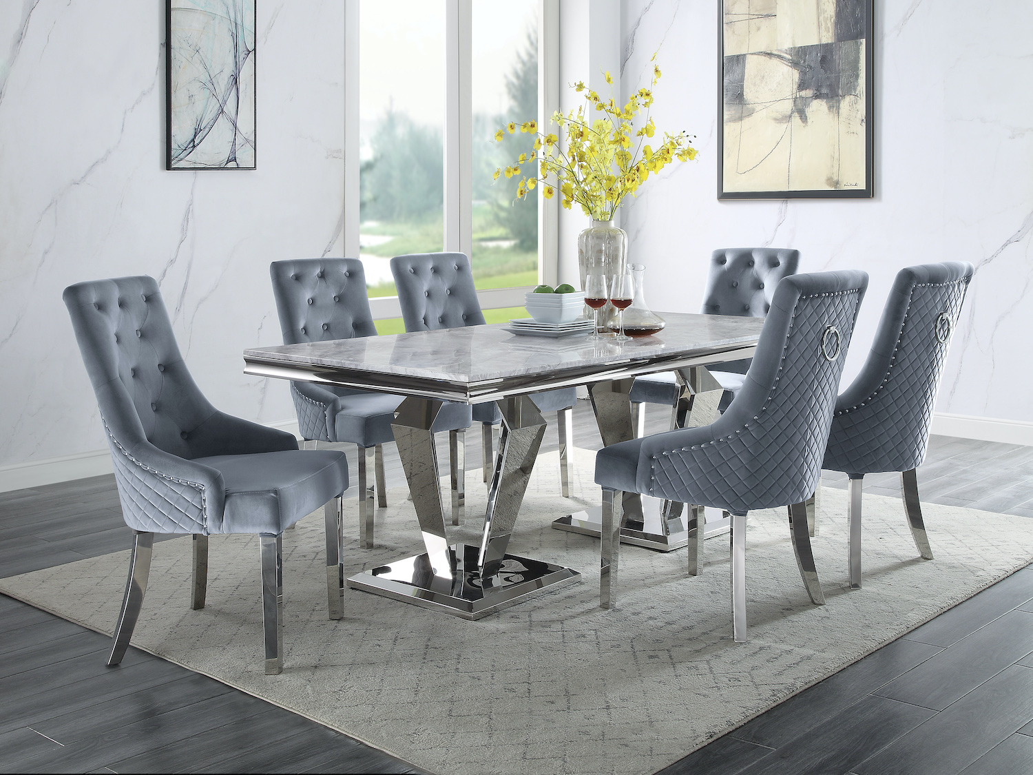 Modern Marble Dining Table with Stainless Steel Base