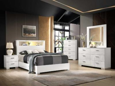 Modern Elegant Elaine Queen Bedroom Set 6 PC in White Finish by Midha's Furniture Serving Brampton, Mississauga, Etobicoke, Toronto, Scraborough, Caledon, Cambridge, Oakville, Markham, Ajax, Pickering, Oshawa, Richmondhill, Kitchener, Hamilton and GTA area