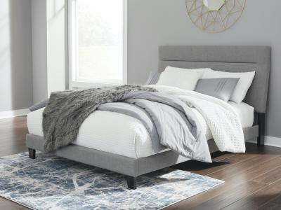 Ashley Adelloni Queen Size Platform Bed in Gray Polyester Upholstery by Midha's Furniture Serving Brampton, Mississauga, Etobicoke, Toronto, Scraborough, Caledon, Cambridge, Oakville, Markham, Ajax, Pickering, Oshawa, Richmondhill, Kitchener, Hamilton and GTA area