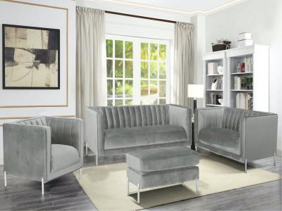 K-Living Arthur Grey Sofa & Love Seat in Rich Soft Suede Velvet Fabric with Silver Metal Legs by Midha's Furniture Serving Brampton, Mississauga, Etobicoke, Toronto, Scraborough, Caledon, Cambridge, Oakville, Markham, Ajax, Pickering, Oshawa, Richmondhill, Kitchener, Hamilton and GTA area