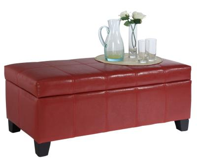 BELLA-STORAGE OTTOMAN-RED by Midha's Furniture Serving Brampton, Mississauga, Etobicoke, Toronto, Scraborough, Caledon, Cambridge, Oakville, Markham, Ajax, Pickering, Oshawa, Richmondhill, Kitchener, Hamilton and GTA area
