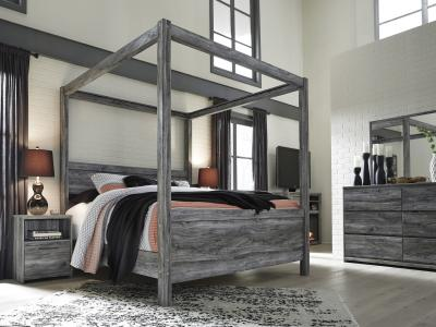 Ashley Baystorm Canopy Queen Bed in Smokey Gray Finish by Midha's Furniture Serving Brampton, Mississauga, Etobicoke, Toronto, Scraborough, Caledon, Cambridge, Oakville, Markham, Ajax, Pickering, Oshawa, Richmondhill, Kitchener, Hamilton and GTA area