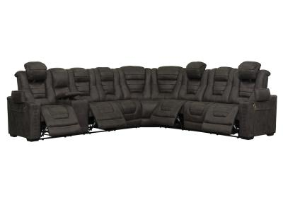 Modern Boomer 7 PC Fabric Sectional Power Recliners with Adjustable Headrests & USB Charging Ports by Midha's Furniture Serving Brampton, Mississauga, Etobicoke, Toronto, Scraborough, Caledon, Cambridge, Oakville, Markham, Ajax, Pickering, Oshawa, Richmondhill, Kitchener, Hamilton and GTA area