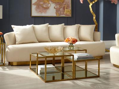 Xcella Boston Luxury Sofa With Ivory Color Fabric by Midha's Furniture Serving Brampton, Mississauga, Etobicoke, Toronto, Scraborough, Caledon, Cambridge, Oakville, Markham, Ajax, Pickering, Oshawa, Richmondhill, Kitchener, Hamilton and GTA area
