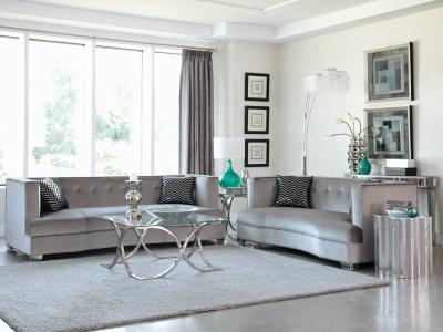 Designer Collection Caldwell Velvet Sofa in Silver- (Soft Velvet Upholstery) by Midha's Furniture Serving Brampton, Mississauga, Etobicoke, Toronto, Scraborough, Caledon, Cambridge, Oakville, Markham, Ajax, Pickering, Oshawa, Richmondhill, Kitchener, Hamilton and GTA area