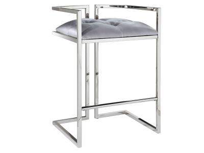 Coralie Silver Satin Stool by Midha's Furniture Serving Brampton, Mississauga, Etobicoke, Toronto, Scraborough, Caledon, Cambridge, Oakville, Markham, Ajax, Pickering, Oshawa, Richmondhill, Kitchener, Hamilton and GTA area