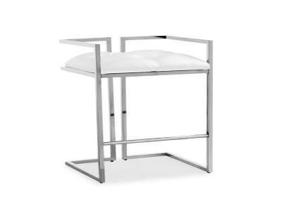 Coralie White Leatherette Stool