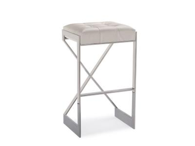 Criss Cross White Leatherette Bar Stool