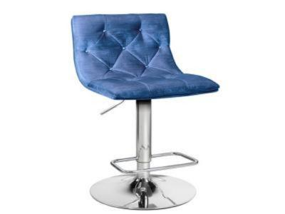 Crystal Blue Velvet Adjustable Stool