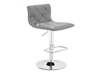 Crystal Grey Leatherette Adjustable Stool