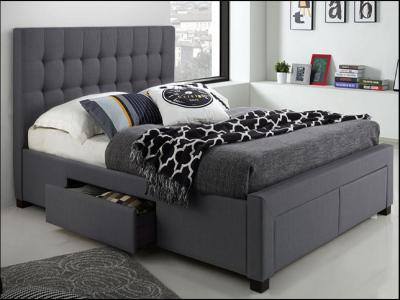 Modern Double Storage Bed in Grey Colour by Midha's Furniture Serving Brampton, Mississauga, Etobicoke, Toronto, Scraborough, Caledon, Cambridge, Oakville, Markham, Ajax, Pickering, Oshawa, Richmondhill, Kitchener, Hamilton and GTA area