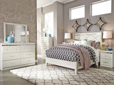 Dreamur 6 Pc includes- HB/FB/RAILS/DRESSER/MIRROR/ONE NIGHT STAND pc Bedroom Set