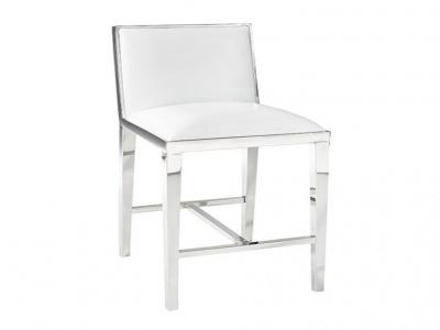 Emario White Leatherette Bar Chair