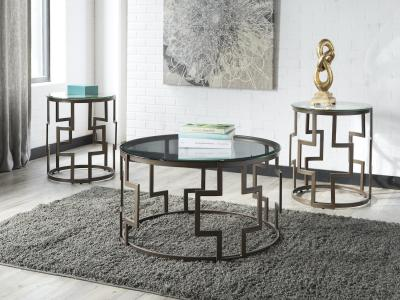 Ashley Frostine 3 PC Coffee Table Set with Glass Top by Midha's Furniture Serving Brampton, Mississauga, Etobicoke, Toronto, Scraborough, Caledon, Cambridge, Oakville, Markham, Ajax, Pickering, Oshawa, Richmondhill, Kitchener, Hamilton and GTA area