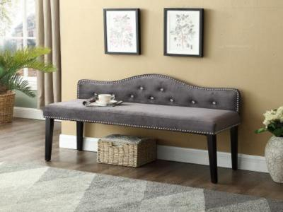 Grey Velvet Bench by Midha's Furniture Serving Brampton, Mississauga, Etobicoke, Toronto, Scraborough, Caledon, Cambridge, Oakville, Markham, Ajax, Pickering, Oshawa, Richmondhill, Kitchener, Hamilton and GTA area