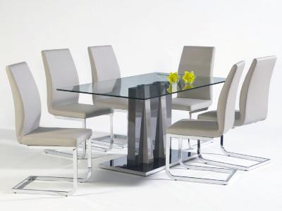 HEKA w/CHAMPAGNE SIDE CHAIRS 5 PIECE SET
