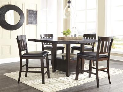 Ashley design in Dark Brown color Haddigan 5 PC Pub Height Set by Midha's Furniture Serving Brampton, Mississauga, Etobicoke, Toronto, Scraborough, Caledon, Cambridge, Oakville, Markham, Ajax, Pickering, Oshawa, Richmondhill, Kitchener, Hamilton and GTA area