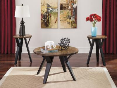 Ashley Ingel 3pc Table Set in Retro Look by Midha's Furniture Serving Brampton, Mississauga, Etobicoke, Toronto, Scraborough, Caledon, Cambridge, Oakville, Markham, Ajax, Pickering, Oshawa, Richmondhill, Kitchener, Hamilton and GTA area