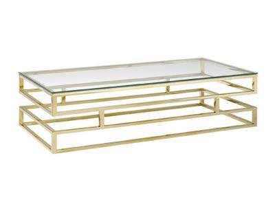 Keaten Glass Top Gold Coffee Table