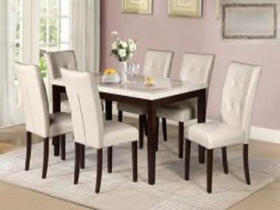 Kristy with saddle beige chairs Marble Dinetes