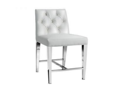 Leslie White Leatherette Counter Chair