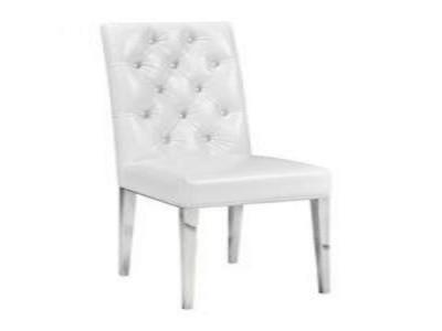 Leslie White Leatherette Dining Chair by Midha's Furniture Serving Brampton, Mississauga, Etobicoke, Toronto, Scraborough, Caledon, Cambridge, Oakville, Markham, Ajax, Pickering, Oshawa, Richmondhill, Kitchener, Hamilton and GTA area