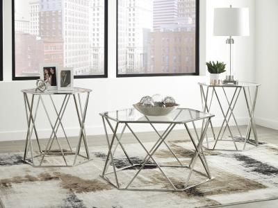 Ashley Midanere 3PC Table Set with Glass Top by Midha's Furniture Serving Brampton, Mississauga, Etobicoke, Toronto, Scraborough, Caledon, Cambridge, Oakville, Markham, Ajax, Pickering, Oshawa, Richmondhill, Kitchener, Hamilton and GTA area