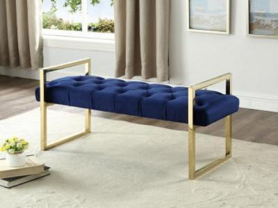 Navy Blue Velvet Bench by Midha's Furniture Serving Brampton, Mississauga, Etobicoke, Toronto, Scraborough, Caledon, Cambridge, Oakville, Markham, Ajax, Pickering, Oshawa, Richmondhill, Kitchener, Hamilton and GTA area