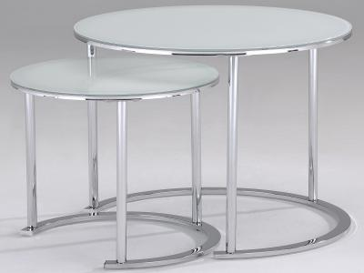 OSLO-2PC ACCENT TABLE-CHROME/WHITE