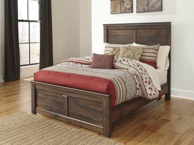 Ashley Quinden Queen Size Panel Bed in Vintage Dark Brown by Midha's Furniture Serving Brampton, Mississauga, Etobicoke, Toronto, Scraborough, Caledon, Cambridge, Oakville, Markham, Ajax, Pickering, Oshawa, Richmondhill, Kitchener, Hamilton and GTA area