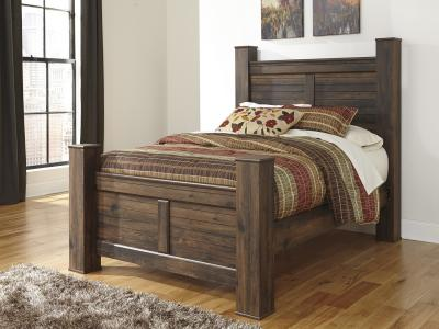 Ashley Quinden Queen Size Poster Bed in Dark Brown Finish by Midha's Furniture Serving Brampton, Mississauga, Etobicoke, Toronto, Scraborough, Caledon, Cambridge, Oakville, Markham, Ajax, Pickering, Oshawa, Richmondhill, Kitchener, Hamilton and GTA area