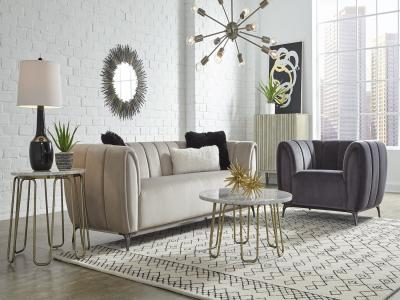 Modern Stylish Roma Fabric Sofa in Sedate Cream Color by Midha's Furniture Serving Brampton, Mississauga, Etobicoke, Toronto, Scraborough, Caledon, Cambridge, Oakville, Markham, Ajax, Pickering, Oshawa, Richmondhill, Kitchener, Hamilton and GTA area