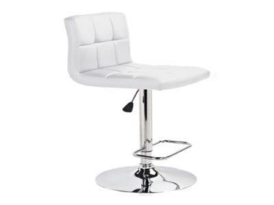 Selena White Leatherette Adjustable Stool