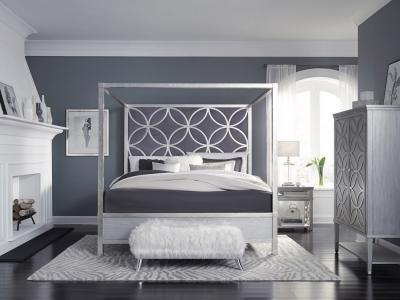 Designer Collection Silver Leaf Modern Canopy Bed With Plush Gray Velvet Fabric by Midha's Furniture Serving Brampton, Mississauga, Etobicoke, Toronto, Scraborough, Caledon, Cambridge, Oakville, Markham, Ajax, Pickering, Oshawa, Richmondhill, Kitchener, Hamilton and GTA area