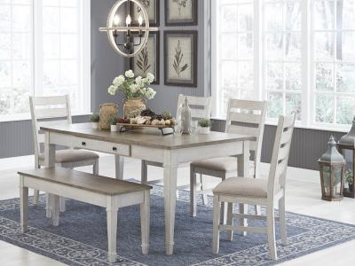 Signature Design by Ashley Skempton 6 PC Dining Set in White by Midha's Furniture Serving Brampton, Mississauga, Etobicoke, Toronto, Scraborough, Caledon, Cambridge, Oakville, Markham, Ajax, Pickering, Oshawa, Richmondhill, Kitchener, Hamilton and GTA area