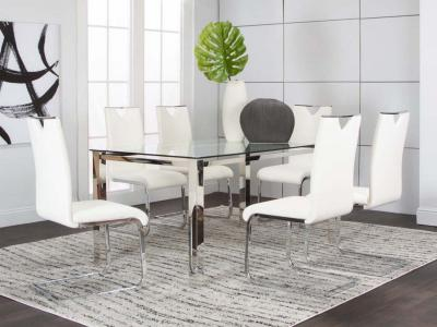 Cramco Glass Top Dining Set Skyline 5 PC Dining Set W/Dana Chairs by Midha's Furniture Serving Brampton, Mississauga, Etobicoke, Toronto, Scraborough, Caledon, Cambridge, Oakville, Markham, Ajax, Pickering, Oshawa, Richmondhill, Kitchener, Hamilton and GTA area