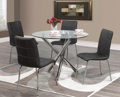 Contemporary Solara 5 PC Dining Set (Table + 4 Chairs) with a Shiny Chrome Finish by Midha's Furniture Serving Brampton, Mississauga, Etobicoke, Toronto, Scraborough, Caledon, Cambridge, Oakville, Markham, Ajax, Pickering, Oshawa, Richmondhill, Kitchener, Hamilton and GTA area