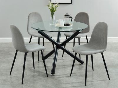 Suzette 5 PC Dining Set with Glass Top by Midha's Furniture Serving Brampton, Mississauga, Etobicoke, Toronto, Scraborough, Caledon, Cambridge, Oakville, Markham, Ajax, Pickering, Oshawa, Richmondhill, Kitchener, Hamilton and GTA area