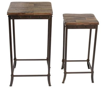 TRENTON-2PC ACCENT TABLE-DISTRESSED PINE