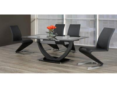 Tempered glass table with black chairs