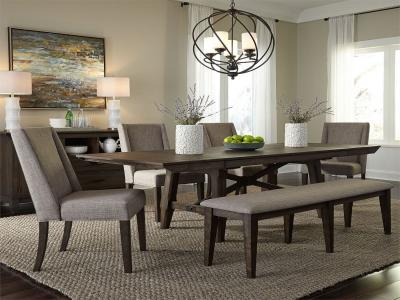 Liberty Furniture Trestle 6 PC Double Bridge Dining Set in Rustic Style by Midha's Furniture Serving Brampton, Mississauga, Etobicoke, Toronto, Scraborough, Caledon, Cambridge, Oakville, Markham, Ajax, Pickering, Oshawa, Richmondhill, Kitchener, Hamilton and GTA area