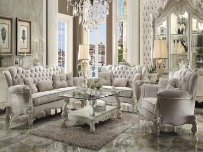 ACME Versailles Traditional Sofa & Love Seat in Bone White Color by Midha's Furniture Serving Brampton, Mississauga, Etobicoke, Toronto, Scraborough, Caledon, Cambridge, Oakville, Markham, Ajax, Pickering, Oshawa, Richmondhill, Kitchener, Hamilton and GTA area