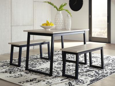 Waylowe Dining Table Set (Table + 2 Benches)